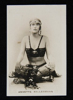 Cigarette card with photograph of Annette Kellerman in costume from the film A Daughter of the Gods, c 1916