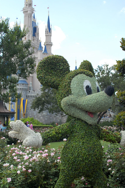 Mickey Mouse topiary in front of Cinderella's Castle.