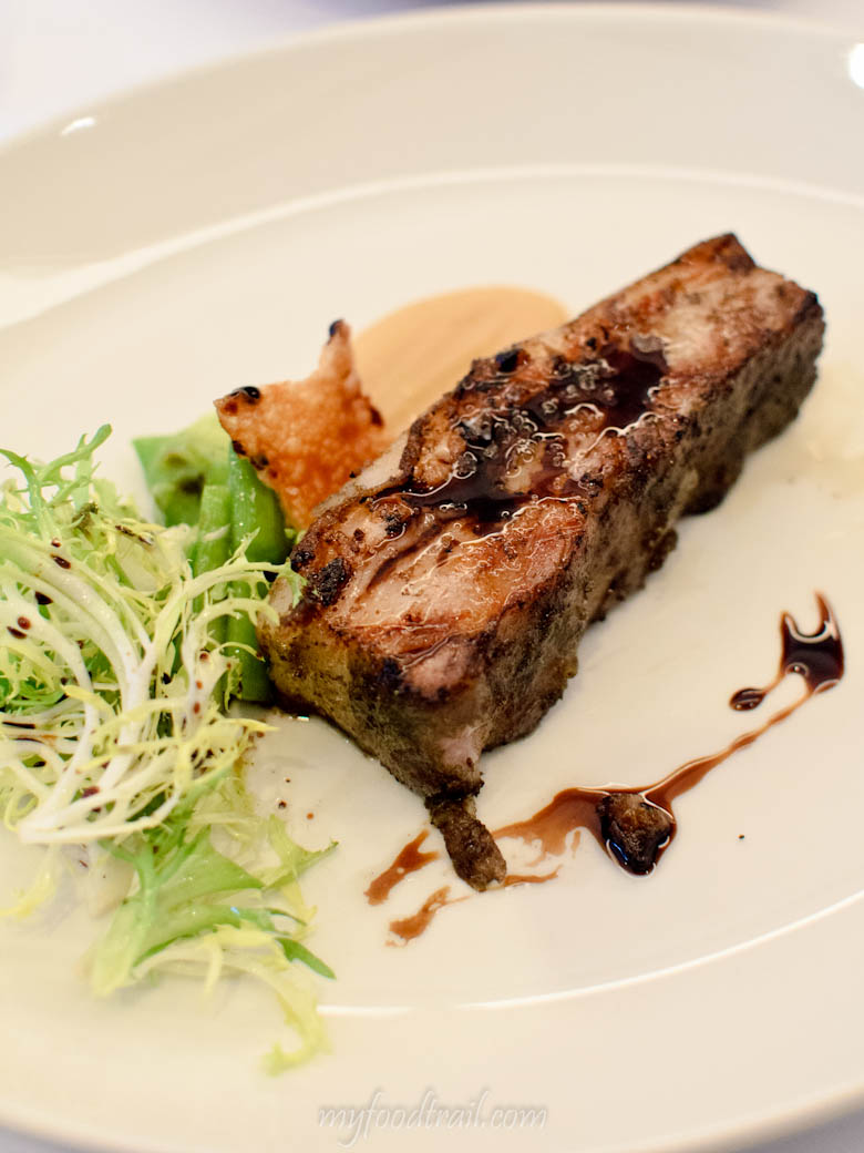 Bottega - Char-Grilled Western Plains Pork Belly, Apple Puree, Frisee Salad & Crackling