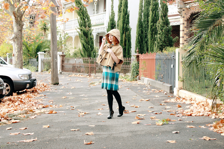 blue plaid cape a