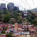 Aerial cable-car and public library in informal settlement, Medellin, Colombia