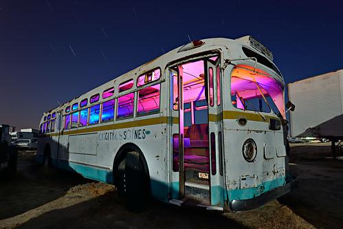 magic party bus. mojave desert, ca. 2012.