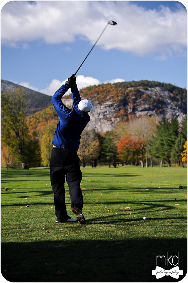 Groom Teeing off - North Conway Country Club Golf Course