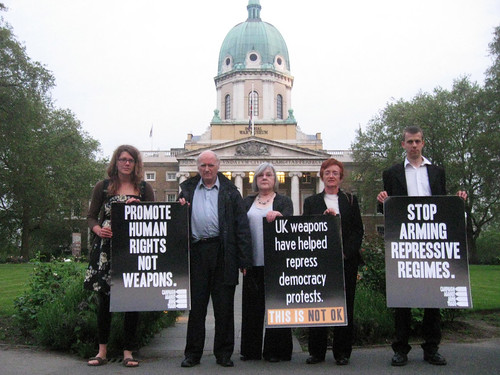 Anti arms trade protesters outside the Imperial War Museum