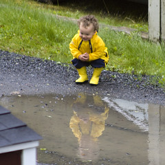 child, asphalt, puddle, yellow, water, mud, boy, toddler,