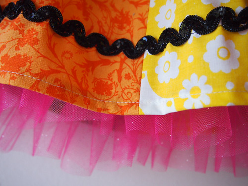 rainbow skirt pink tulle and sequin close up