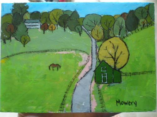 Horse farm on Turner Rd., acrylic, Barbara Mowery 2012