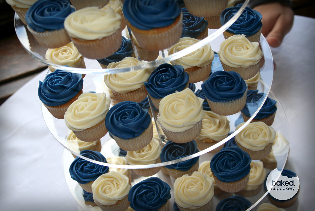 Royal Blue Wedding Tower Filled With Mini Rose Cupcakes