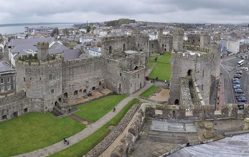 Looking over Caernarfon castle