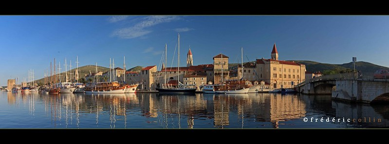 Trogir in Croatia at sunrise - Panorama