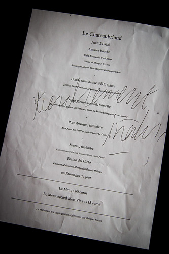 Autographed menu at Le Chateaubriand