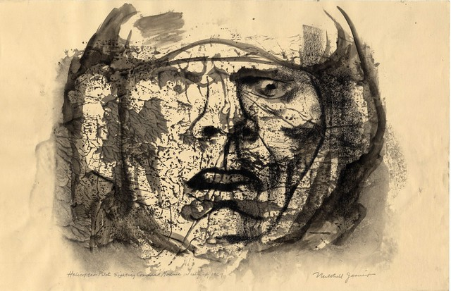 stylised drawing of distraught/shocked helicopter pilot's face and helmet