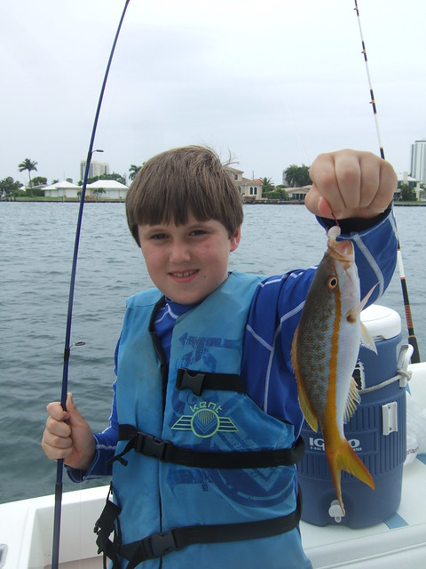 gabriel catches a yellowtail snapper