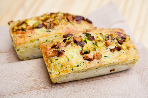 Savory financiers: Zucchini, olive oil and pistachio