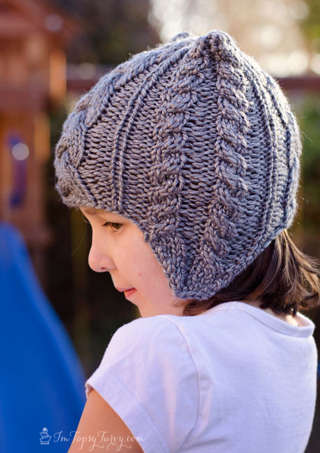 Knitting Pattern For Childs Beanie : Cable Knit Beanie pattern with earflaps- child Ashlee Marie