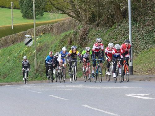 1st Lap - Top of climb into Modbury (Several already dropped)