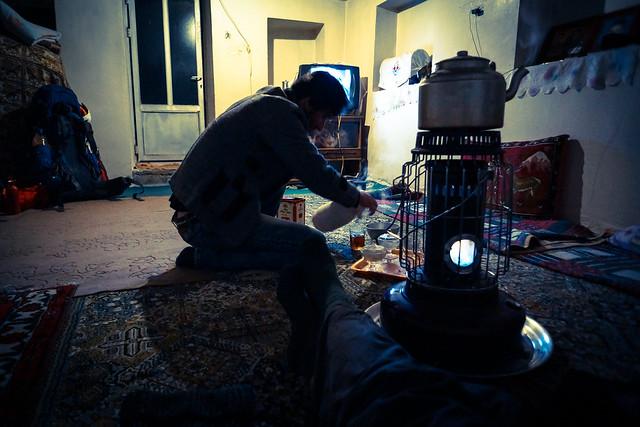 making tea in Iran