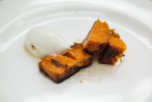 Brown butter sauteed preserved sweet potatoes with yuzu marshmallow ice cream