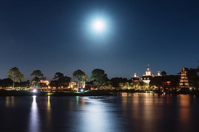 A Moonlit World Showcase Lagoon