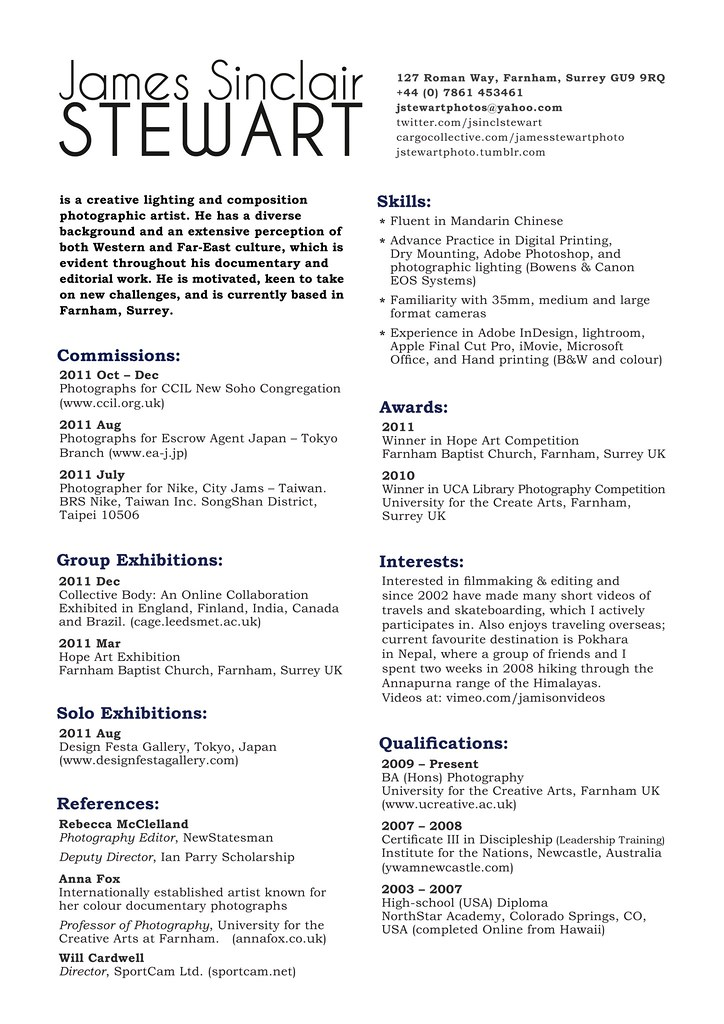 resume for photographer