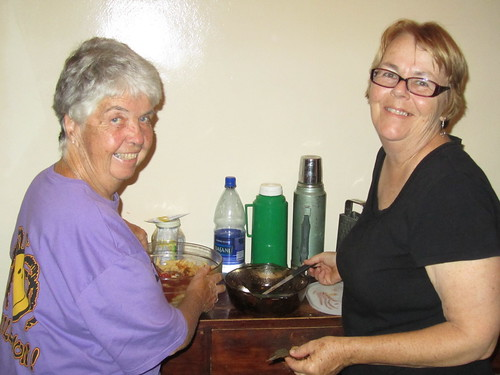 The party at Liz and Marion's. The hostesses working hard.
