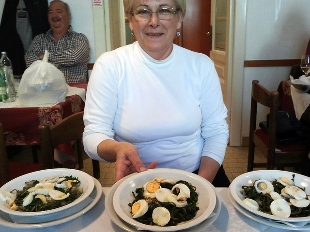 Gina Civitico with steamed dandelion and boiled eggs