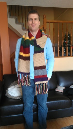 Ken modeling his Doctor Who scarf