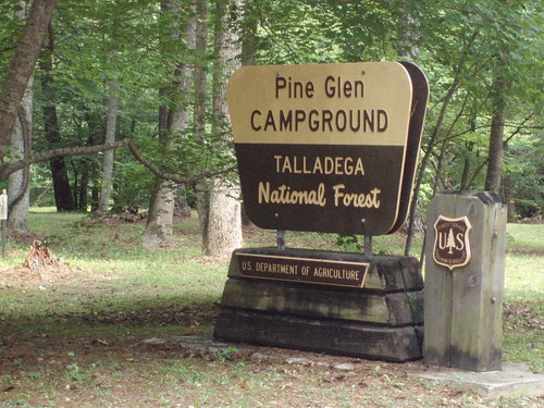 Volunteers on the Talladega National Forest work to help keep forest recreation areas like the Pine Glen campgrounds clean and ready for visitors.  U.S. Forest Service photo.