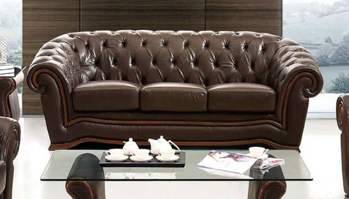 brown leather chesterfield couch 3-seater