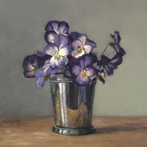 Pansies in a Silver Cup