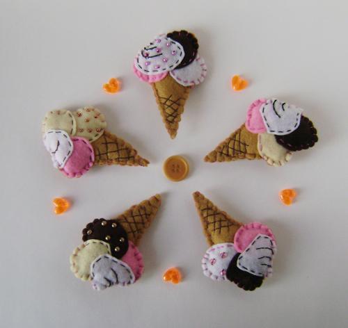 Ice cream felt brooch mixed