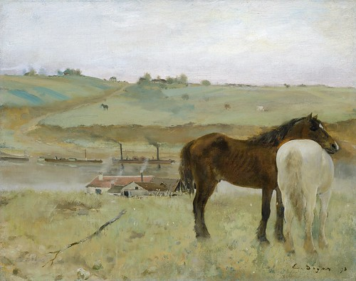 Edgar Degas - Horses in a Meadow [1871] by Gandalf's Gallery