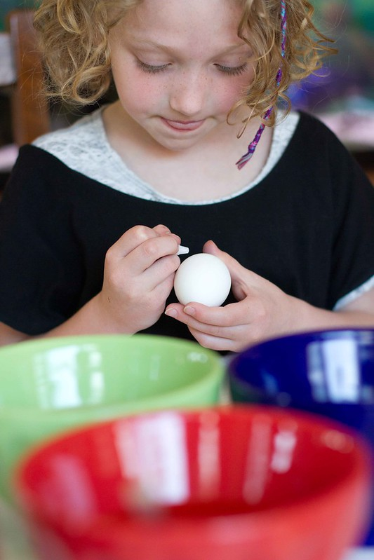 addie coloring eggs