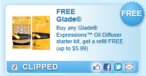 Glade Expressions Oil Diffuser Starter Kit, Get A Refill Free (up To $5.99)  Coupon