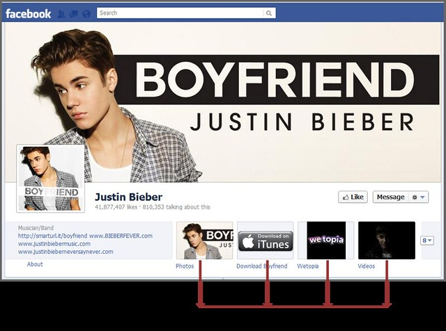 Apps menu on Justin Bieber's page after Timeline