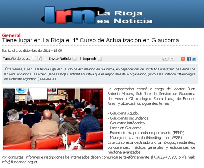 La rioja es noticia - Curso actualización en Glaucoma  - 02.12.11