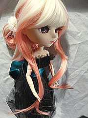 hime cut, hairstyle, clothing, hair, long hair, blond, mouth, doll, eye, toy,