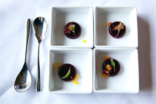 Palate cleanser: Blackberry gelée, pineapple-kumquat pearls, lime basil