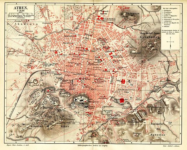 Athens city plan 1884
