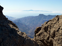 Gran Canaria - Roque Nublo Surrondings with Mount Teide in the Horizon, in the Spring