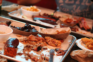 The carnage at the end of our meal at Nancy's Bar-B-Q Sarasota