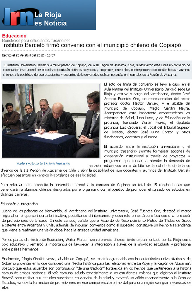 La Rioja es noticia - Firma Convenio Copiapó - 04.2012