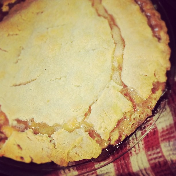 My husband made peach pie.