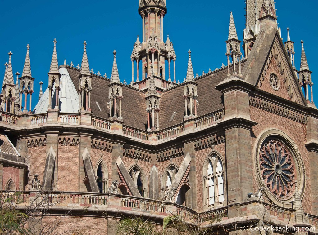 The gargoyles and flying buttresses of Iglesia del Sagrado Corazon (Church of the Sacred Heart)