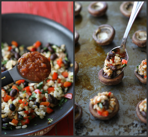 Southwestern Stuffed Mushrooms Recipe with Black Beans, Brown Rice & Red Pepper