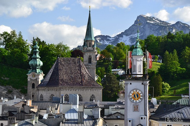 Salzburg church spires, the Mönchsberg and the Untersberg