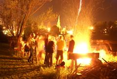 fire, night, campfire, bonfire,