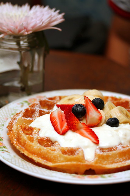 Stranger's Reunion Waffles with Home Made Yogurt and Fresh Fruits