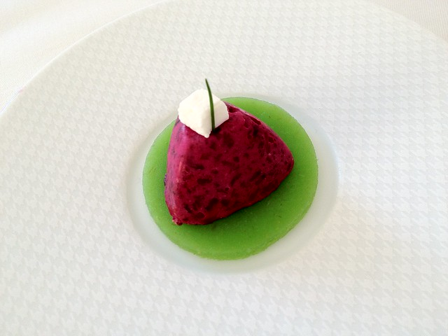 Amuse Bouche - beet with green apple gelee