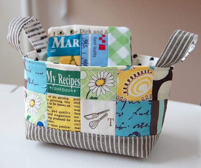 Fabric basket and scrappy organizer